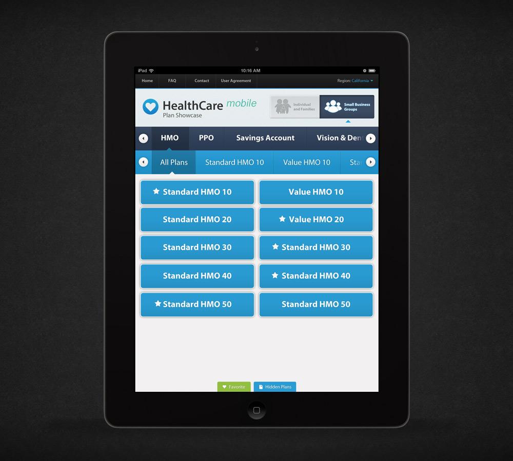 Health Insurance Plan Showcase iPad App